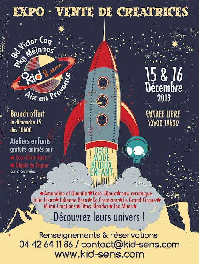 Marché de créateurs pour Noël 2013 à Aix en Provence : déco, mode, bijoux, tableaux, enfants