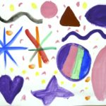 Une peinture rayonnante réalisée en atelier de peinture Baby Art à KID & Sens