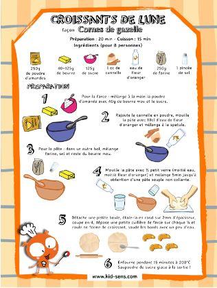 Recette de cuisine illustrée pour les enfants Cornes de Gazelle