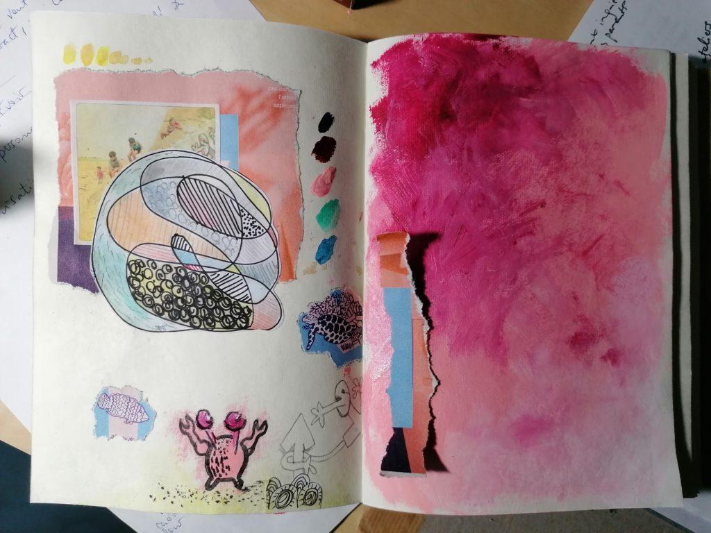 Page de couleur à l'acrylique dans son carnet autour de la parentalité